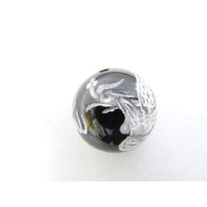 風水 鳳凰 ほうおう パワーストーン オニキス 銀色入り鳳凰 彫り物ルース 14mm|ryu