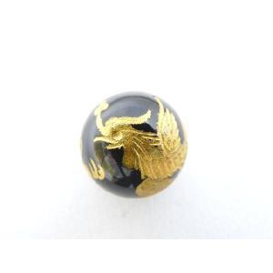 風水 鳳凰 ほうおう パワーストーン オニキス 金色入り鳳凰 彫り物ルース 14mm|ryu