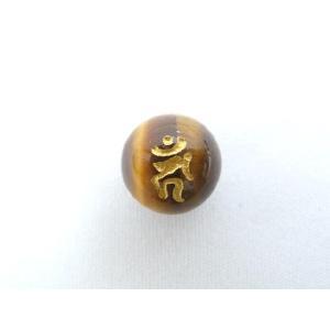 【風水・ 梵字・ぼんじ】パワーストーン・タイガーアイ(虎目石)・カーン(とり)金字・梵字玉 12mm |ryu