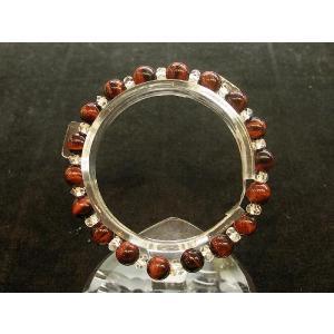 パワーストーン 赤虎目石 レッドタイガーアイ 天然石ブレスレット カット水晶 8mm|ryu