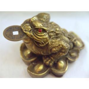 三脚蟾蜍 三本足カエル 銭蛙 銅製置物 中の小 金運 財運 商売繁盛|ryu