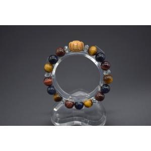 アマビエ 木製彫り物パーツ 疫病退散祈願 ブレスレット 三色タイガーアイ カット水晶 天然石アクセサリー 10mm ryu
