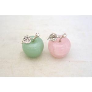 りんご 林檎 アップル アベンチュリン ローズクオーツ パワーストーン 天然石置物 ラインストーン装飾付 二種類の石から選択可能|ryu