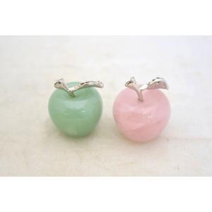 りんご 林檎 アップル アベンチュリン ローズクオーツ パワーストーン 天然石置物 ラインストーン装飾付 二種類の石から選択可能|ryu|02