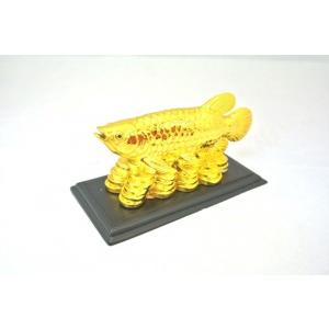 アロワナ 龍魚 風水置物 樹脂製 小 金  金運 財運|ryu
