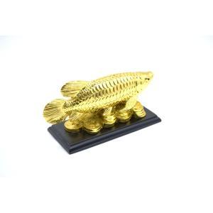 アロワナ 龍魚 台座付き 樹脂製置物 金色 中 ryu 03