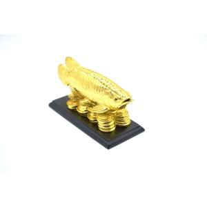 アロワナ 龍魚 台座付き 樹脂製置物 金色 中 ryu 07