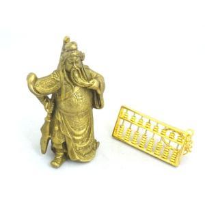 関羽 銅製置物 そろばんセット 開運 風水 インテリア 財運 仕事運 商売の神様|ryu