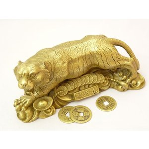 虎 置物 開運風水 インテリア 厄除け 縁起物 銅製 寅 トラ とら 白虎 置物 中|ryu