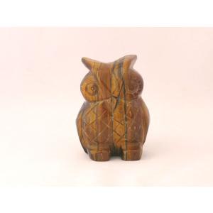 虎目石 タイガーアイ フクロウ 梟 天然石置物|ryu