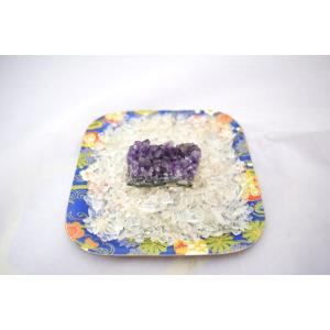 浄化インテリアセット【アメジストクラスター(愛情運アップ)+選べる5色のさざれ石・上げたい運気をチョイス♪】お皿付き|ryu