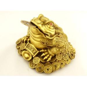 三脚蟾蜍 三本足カエル 商売繁盛 財運 銅製置物 中の中 金運|ryu