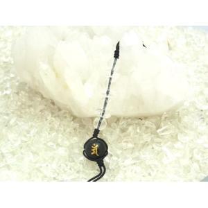 金彫り梵字 オニキス 水晶 ラピスラズリ 中国紐 天然石ストラップ|ryu