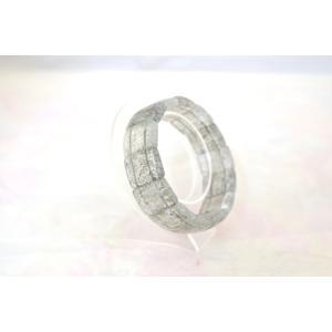 ブラックルチルクォーツ 黒針水晶 薄め 平型 天然石アクセサリー ブレスレット 幅20mm|ryu