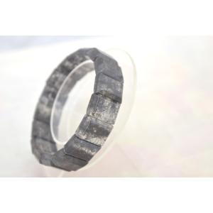 ブラックルチルクォーツ 黒針水晶 濃い目 平型 天然石アクセサリー ブレスレット 幅16mm|ryu|04