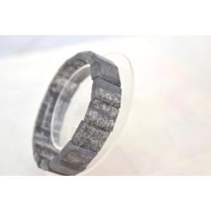ブラックルチルクォーツ 黒針水晶 濃い目 平型 天然石アクセサリー ブレスレット 幅16mm|ryu|05