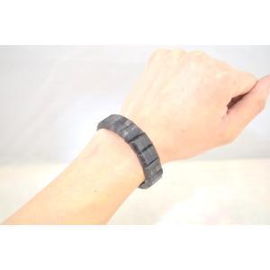 ブラックルチルクォーツ 黒針水晶 濃い目 平型 天然石アクセサリー ブレスレット 幅16mm|ryu|07