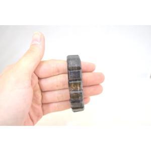 ブラックルチルクォーツ 黒針水晶 濃い目 平型 天然石アクセサリー ブレスレット 幅16mm|ryu|08
