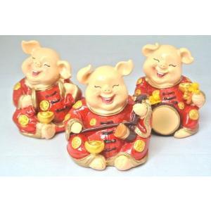 金運 富の象徴 可愛い豚置物 3個セット|ryu