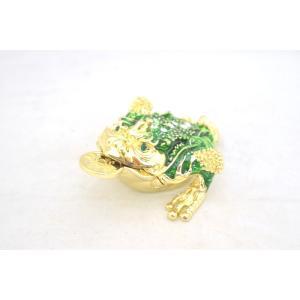 三脚蟾蜍 さんきゃくせんじょ 銭蛙 三本足の蛙 七宝焼き 緑 中 金運 財運 商売繁盛|ryu