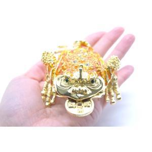 三脚蟾蜍 さんきゃくせんじょ 銭蛙 三本足の蛙 七宝焼き 黄色 中 金運 財運 商売繁盛|ryu