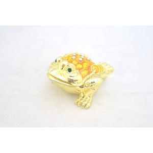 三脚蟾蜍 さんきゃくせんじょ 銭蛙 三本足の蛙 七宝焼き 黄色 小 金運 財運 商売繁盛|ryu