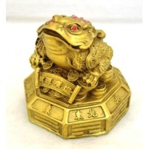 三脚蟾蜍 三本足の蛙 八卦 元宝 古銭 銅製置物 金運 財運 商売繁盛|ryu