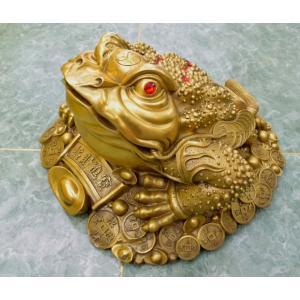 三脚蟾蜍 三本足のカエル 銅製置物 財運 商売繁盛 特大|ryu