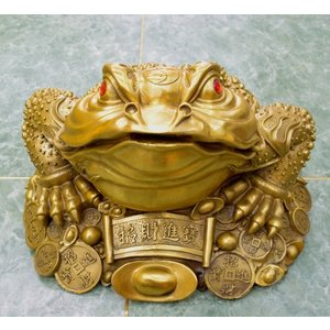 三脚蟾蜍 三本足のカエル 銅製置物 財運 商売繁盛 特大|ryu|02