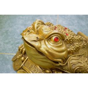 三脚蟾蜍 三本足のカエル 銅製置物 財運 商売繁盛 特大|ryu|07