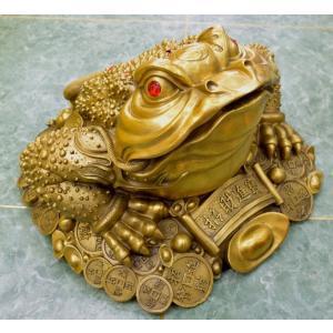 三脚蟾蜍 三本足のカエル 銅製置物 財運 商売繁盛 特大|ryu|09