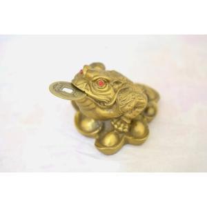 三脚蟾蜍 三本足カエル 銭蛙 銅製置物 財運 商売繁盛 中の小|ryu