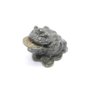 三脚蟾蜍 さんきゃくせんじょ 三本脚の蛙 緑玉石製 風水置物 小 商売繁盛 金運 財運|ryu