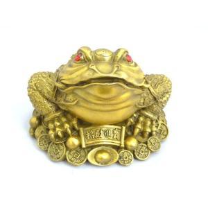 三脚蟾蜍 さんきゃくせんじょ 銭蛙 三本足の蛙 銅製置物 中 金運 財運 商売繁盛|ryu