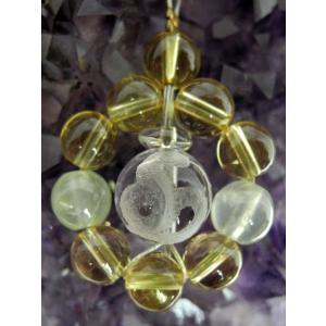 金運 白蛇水晶 シトリン 黄水晶 プレナイト ストラップ|ryu