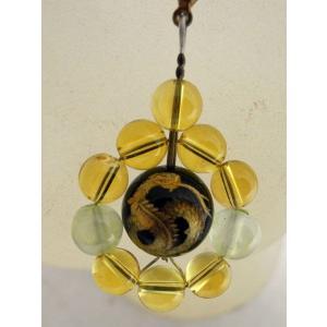 全体運 金運 蛇金彫り水晶 オニキス シトリン 黄水晶 プレナイト ストラップ|ryu