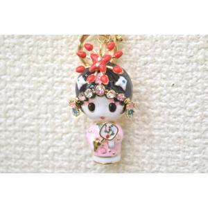 台湾 中国 芸者 七宝焼き 金属製 キーホルダー 女性 開運|ryu
