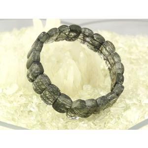 ブラックルチルクオーツ 黒針水晶 パワーストーン 天然石ブレスレット ryu