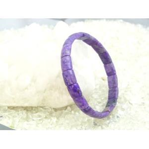 【魅惑の石】スギライト・パワーストーンブレスレット【一点もの!】幅8mm長方形型/サイズ15.5cm|ryu