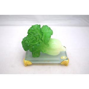 白菜 百才 百財 金運 健康運 樹脂製置物 ガラス台座 小|ryu