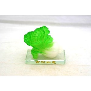 白菜 ガラス台座 樹脂製置物 百才 百財 小|ryu