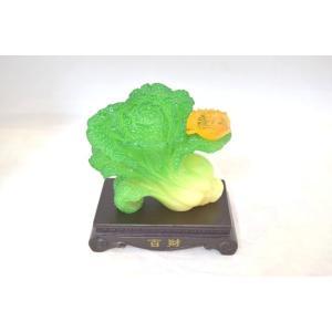 白菜 百才 百財 三脚蟾蜍 樹脂製置物 台座付き 中|ryu