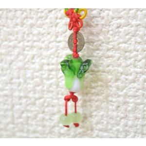 【メール便OK】 白菜 ストラップ 百才 百財 樹脂製 中国ひも 小|ryu