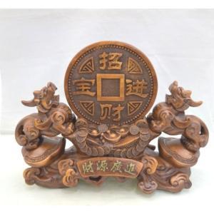 貔貅 ヒキュウ ペア 木彫り風 台座付き 樹脂製置物 大 金運 財運|ryu