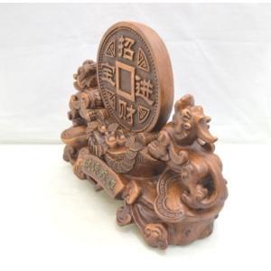 貔貅 ヒキュウ ペア 木彫り風 台座付き 樹脂製置物 大 金運 財運|ryu|02