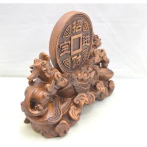 貔貅 ヒキュウ ペア 木彫り風 台座付き 樹脂製置物 大 金運 財運|ryu|03