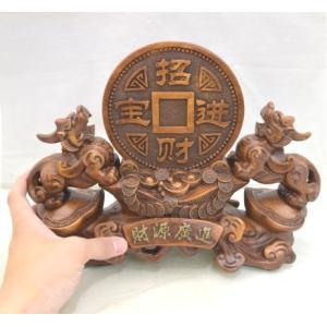 貔貅 ヒキュウ ペア 木彫り風 台座付き 樹脂製置物 大 金運 財運|ryu|05