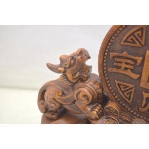 貔貅 ヒキュウ ペア 木彫り風 台座付き 樹脂製置物 大 金運 財運|ryu|06