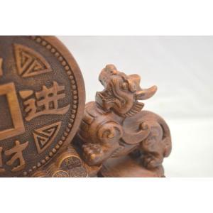 貔貅 ヒキュウ ペア 木彫り風 台座付き 樹脂製置物 大 金運 財運|ryu|07