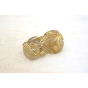 貔貅 ヒキュウ 金針水晶 ルチルクオーツ 天然石置物 商売繁盛 小|ryu